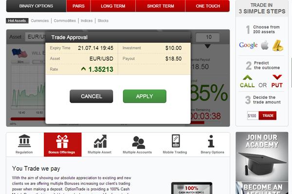 Option trading screener